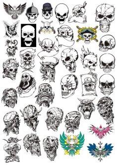 Skull tattoo Vector Free Vector