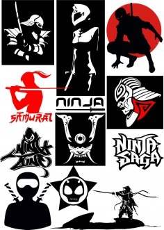 Ninja Vectors Art Pack Free Vector