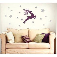Christmas Deer Wall Sticker Vector Free Vector