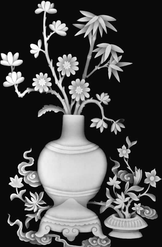Bamboo Vase Grayscale BMP File