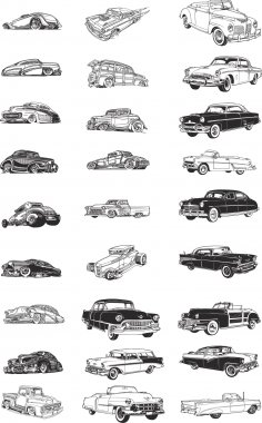 Retro Cars Vector Art Free Vector