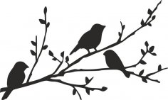 Birds on Branch silhouette stencil dxf File