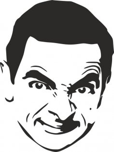 Mr. Bean Stencil dxf File