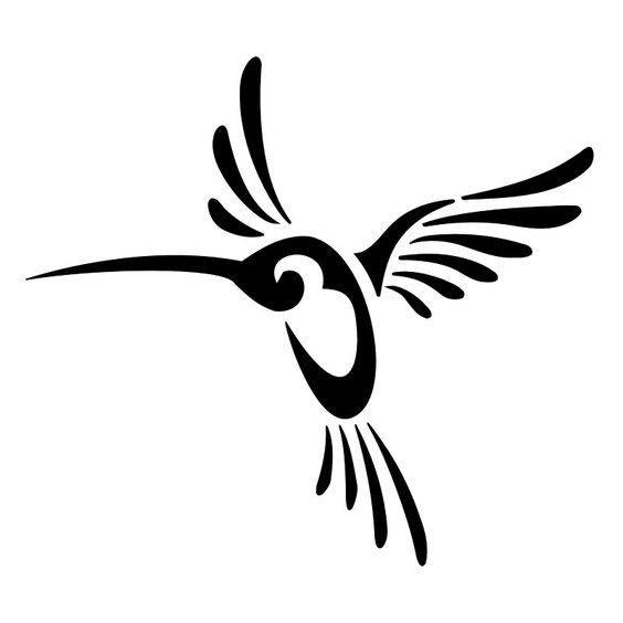 Nice Tribal Hummingbird Tattoo Design dxf File