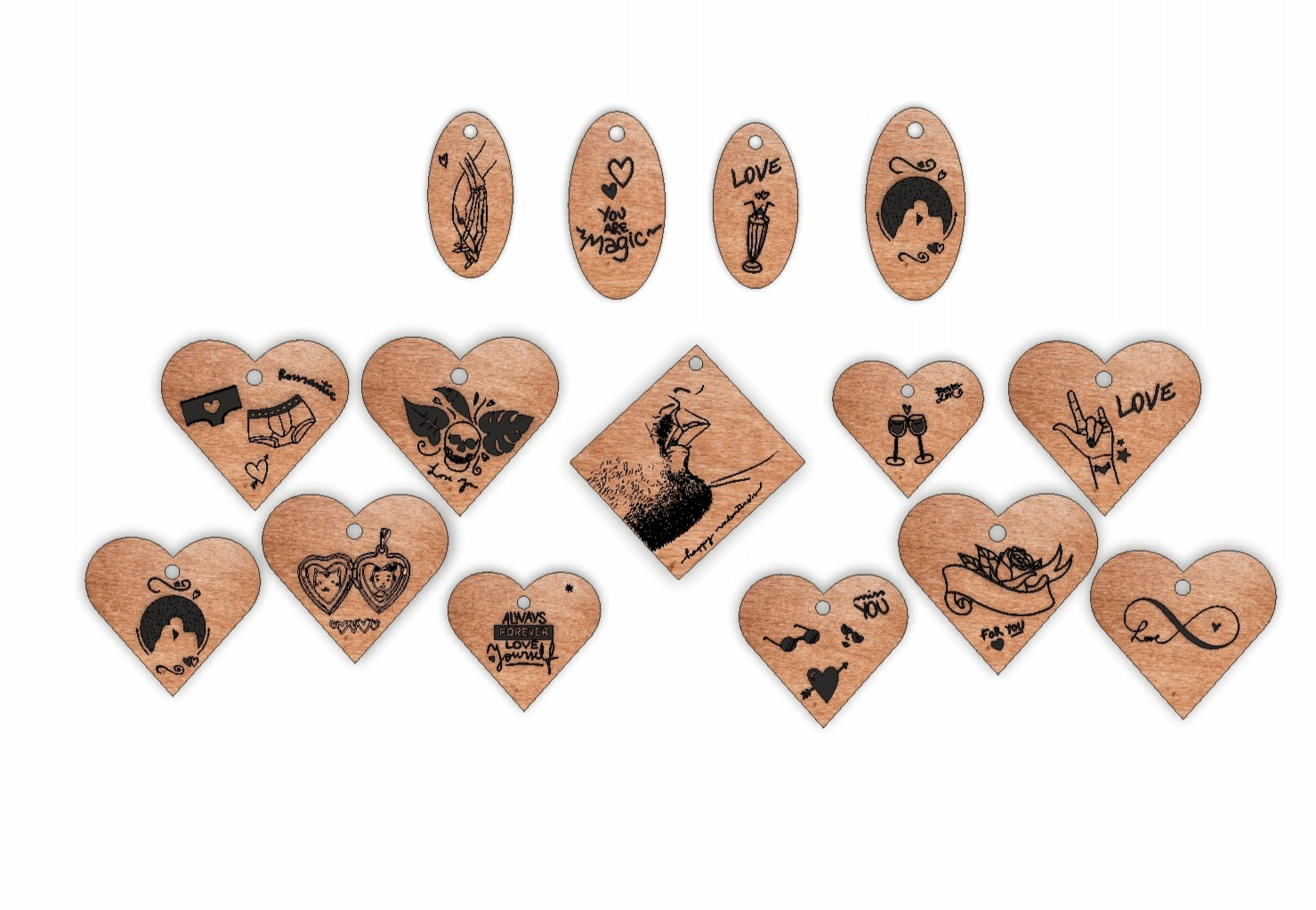 Laser Cut Engrave Wood Personalized Keychains Free Vector