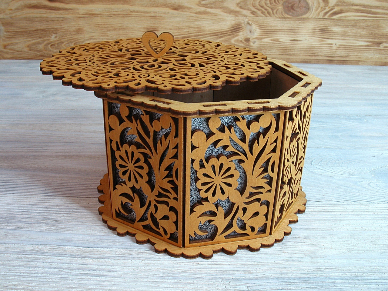 Laser Cut Decorative Basket With Lid Octagon Basket Free Vector