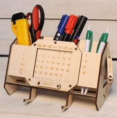 Laser Cut Desk Organizer With Perpetual Calendar Unique Teacher Gifts Free Vector