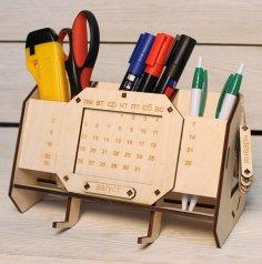 Laser Cut Desk Organizer With Perpetual Calendar Unique Teacher Gifts Free Vector