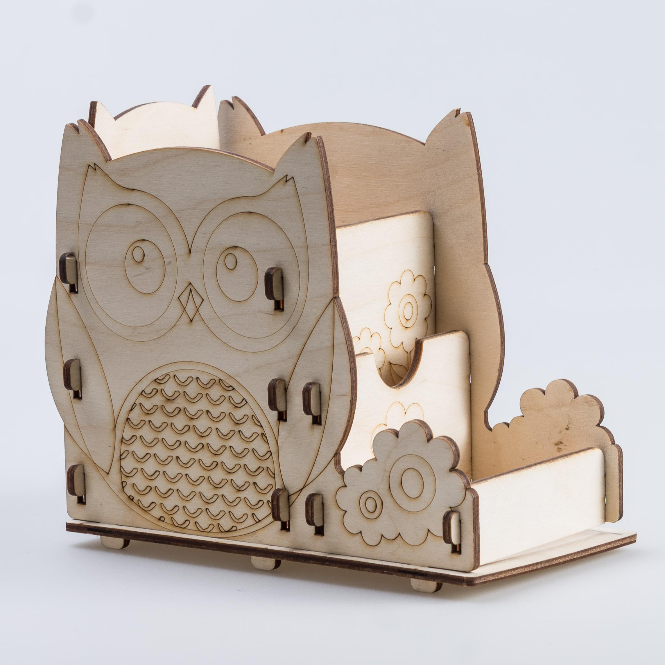 Laser Cut Owl Pen Holder Office Desk Organizer Free Vector