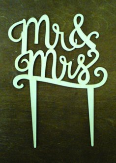 Laser Cut Mr And Mrs Cake Topper Free Vector