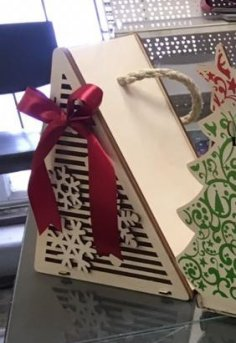 Laser Cut Christmas Tree Packaging for Gift Free Vector
