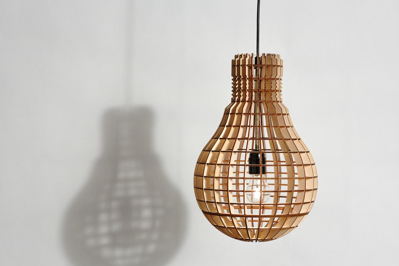 Laser Cut Light Bulb Shape Lamp Free Vector