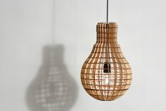 Laser Cut Light Bulb Shape Lamp Free Vector