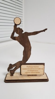 Laser Cut Volleyball Sports Trophy Free Vector