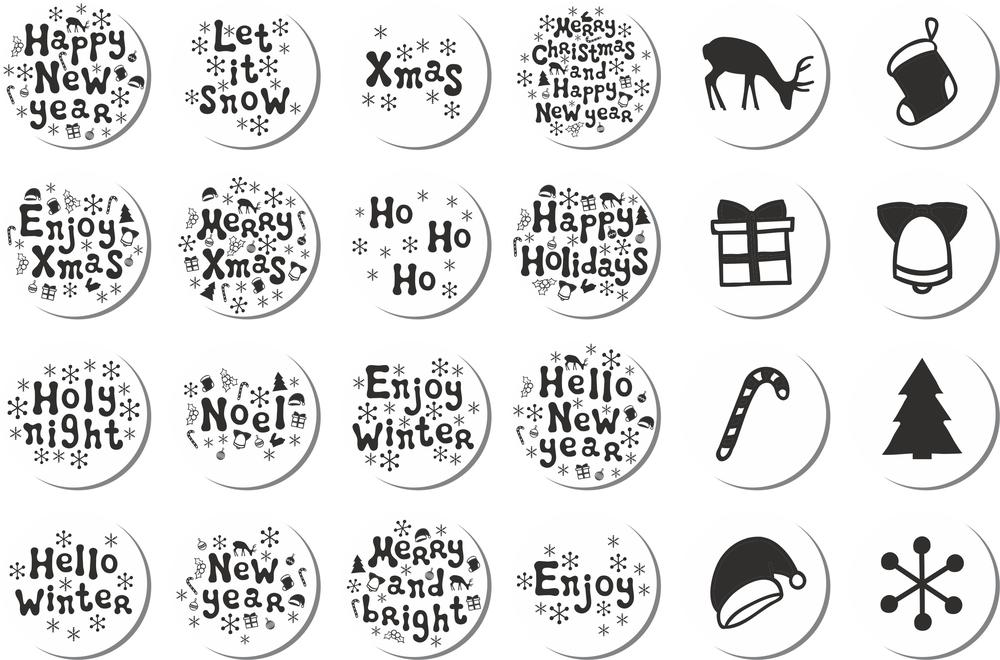 Christmas Stickers Set Free Vector