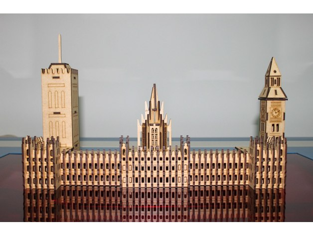 Laser Cut Big Ben Puzzle Model Flat PDF File