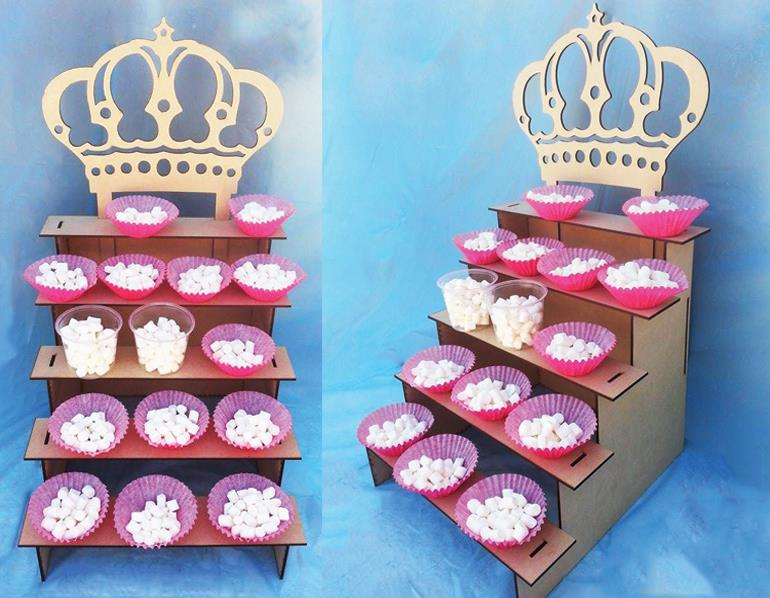 5 Tier Display Shelf with Crown Free Vector