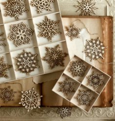 Laser Cut Christmas Tree Snowflakes Free Vector