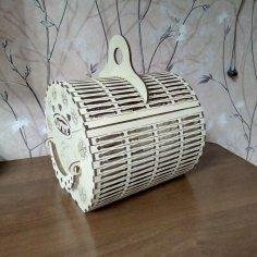 Laser Cut Wooden Decorative Basket DWG File