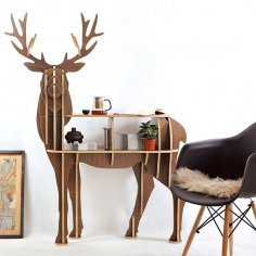 Laser Cut 3D Deer Shelf Bookcase Furniture Free Vector