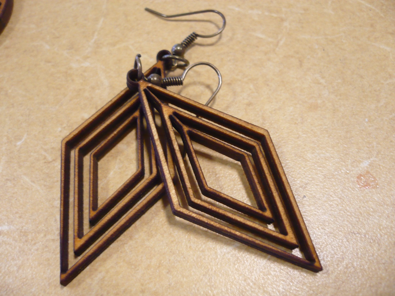 Laser Cut Wood Earrings Free Vector