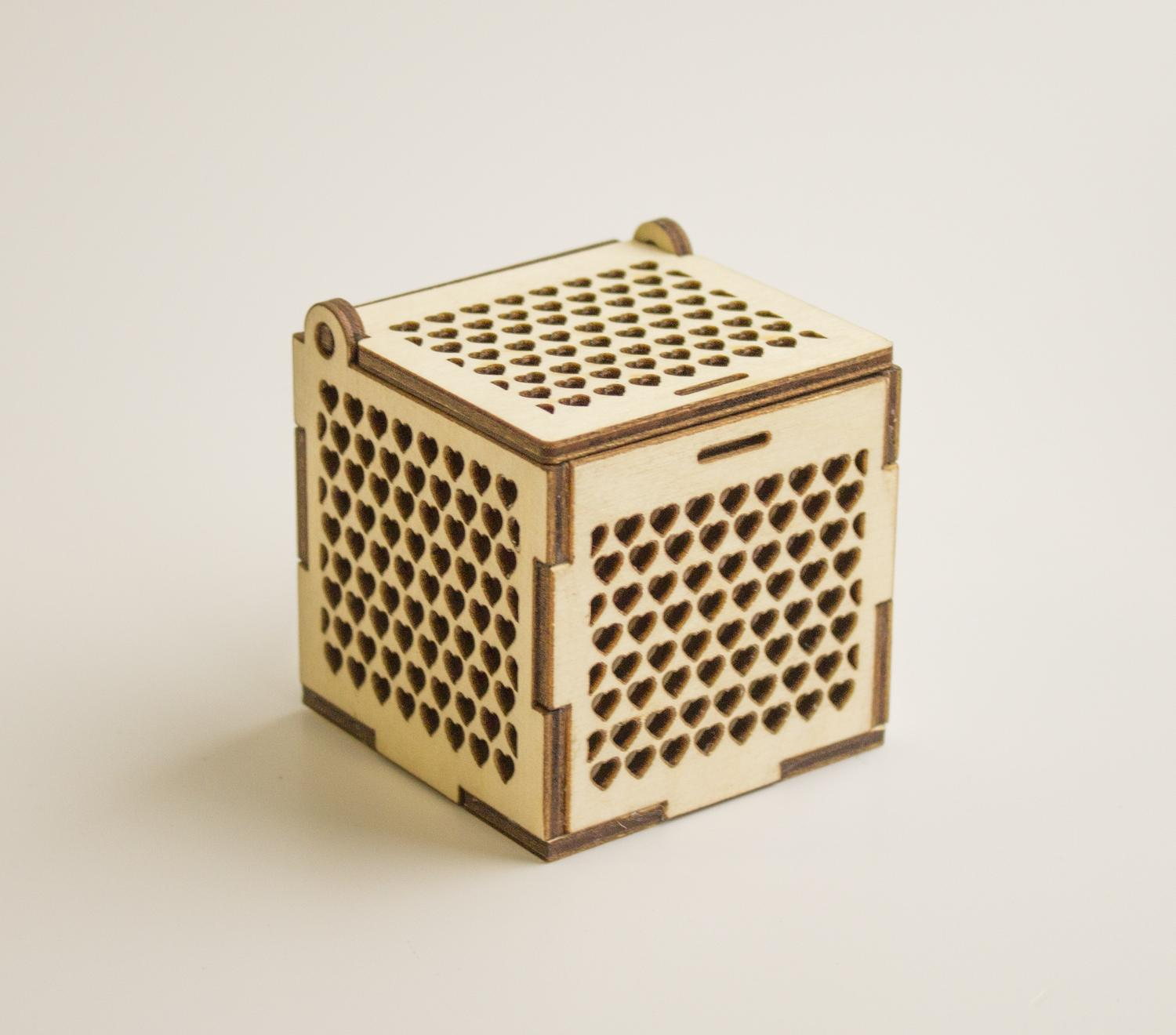 Laser Cut Wooden Jewelry Box With Hearts Free Vector