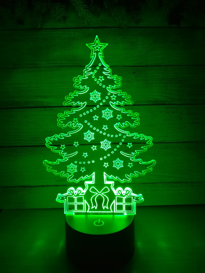 Christmas Tree 3d Illusion Lamp Laser Cutting Template DXF File
