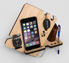 Laser Cut Wood Phone Docking Station With Key Holder Wallet Stand Watch Organizer Men Gift Free Vector