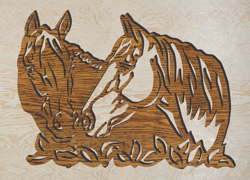 Horses Wall Art Laser Engraving Template Free Vector
