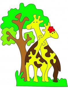 Laser Cut Giraffe Jigsaw Puzzle Free Vector