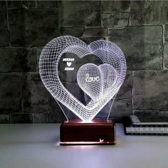 Laser Cut Two Hearts 3d Optical Illusion Lamp Led Night Light Free Vector