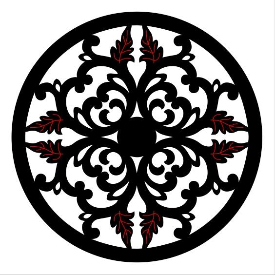 Laser Cut Floral Decorative Circle Design SVG File