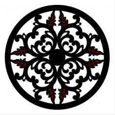Laser Cut Floral Decorative Circle Design SVG File
