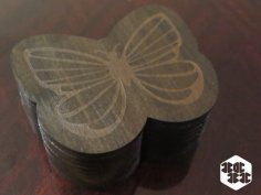 Laser Cut Butterfly Box With Lid DXF File