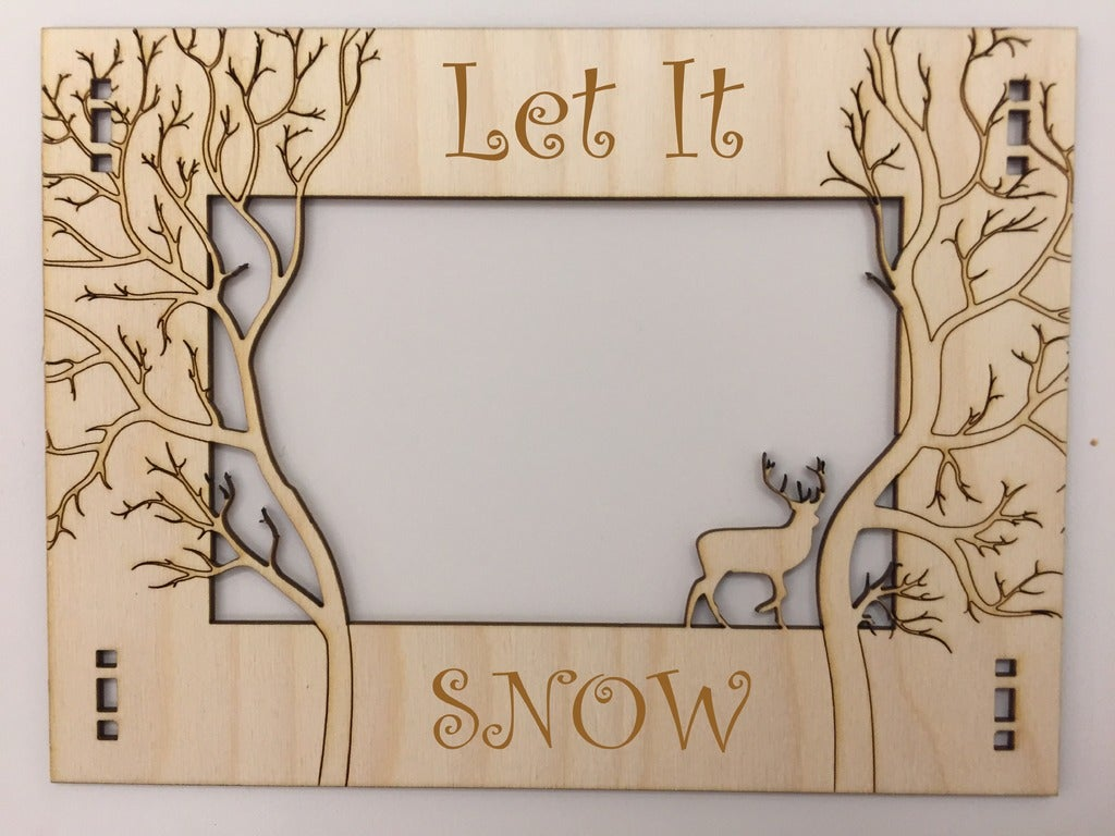 Wooden Photo Frame Jungle Theme Laser Cutting Template DXF File