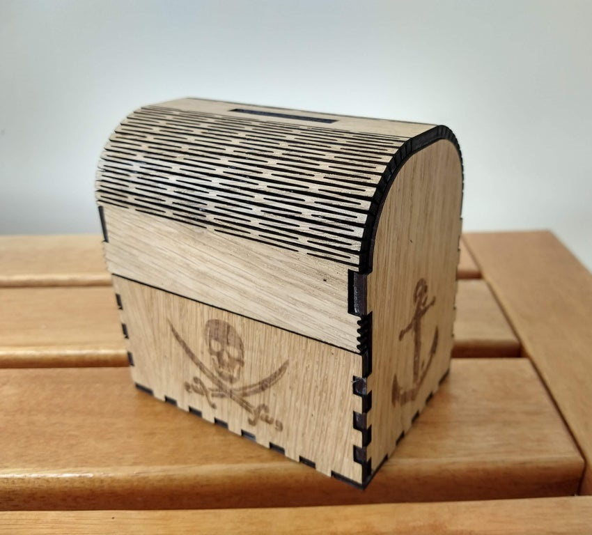 Laser Cut Treasure Chest Money Box Pirate Piggy Bank DXF File