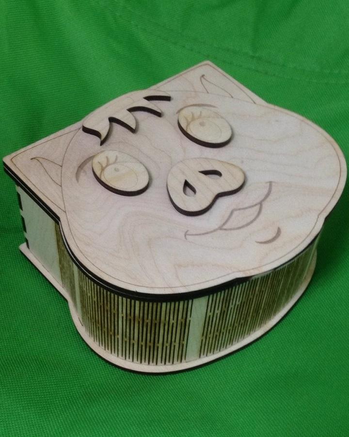 Laser Cut Wooden Cute Pig Gift Box Free Vector