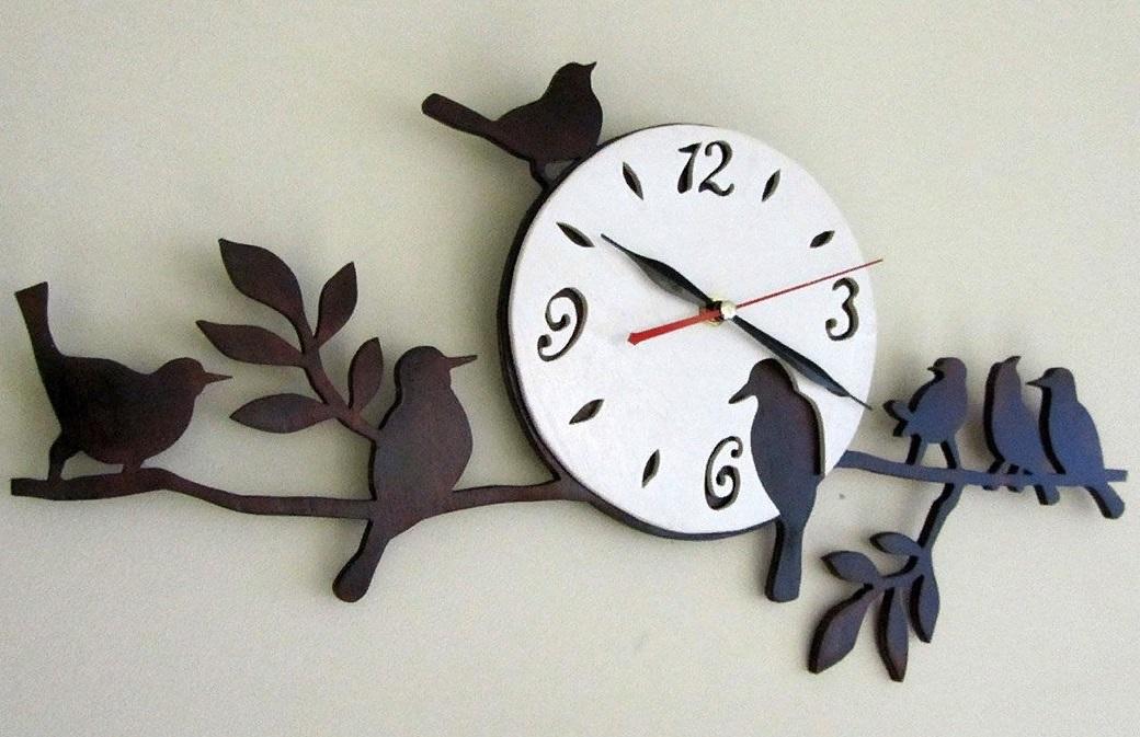 Laser Cut Birds Wall Clock Unique Decor Free Vector