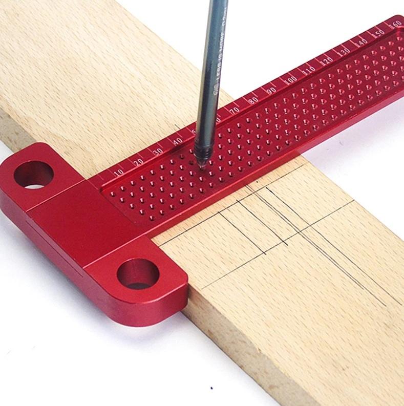 Laser Cut Woodworking T-Ruler Scriber Square Hole Gauge Free Vector