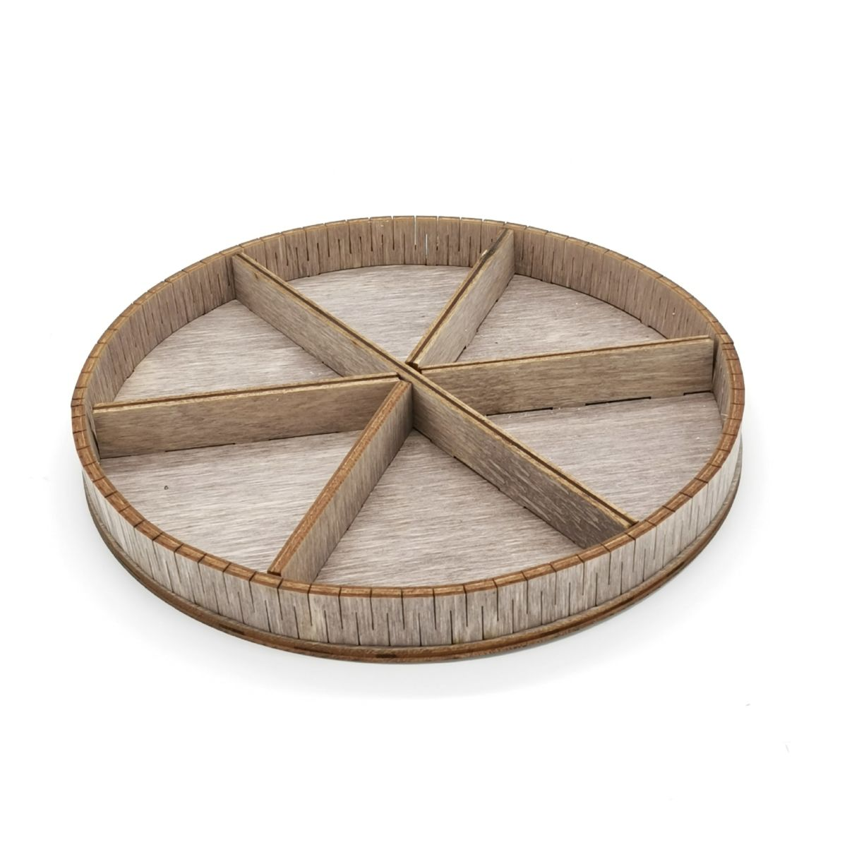Laser Cut Circle Shaped Six Sections Nut Tray Free Vector