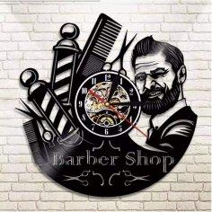Laser Cut Barber Shop Logo Vinyl Record Wall Clock Free Vector
