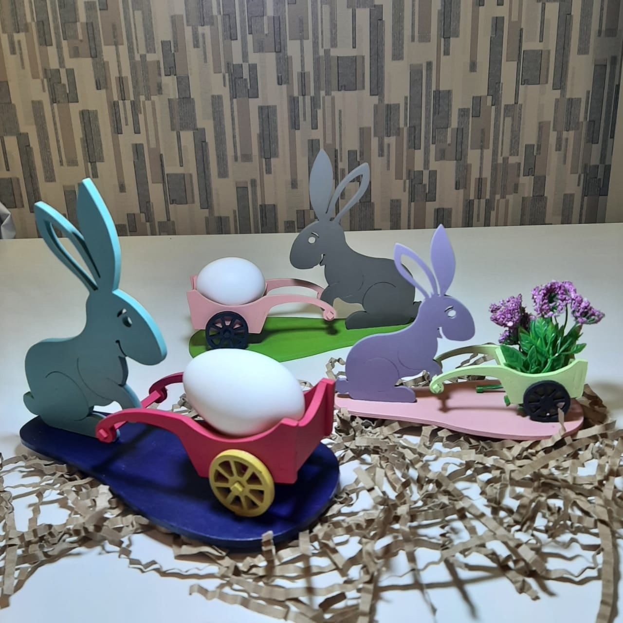 Laser Cut Easter Bunny With Cart Free Vector