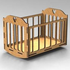 Laser Cut Rocking Cradle Crib Free Vector