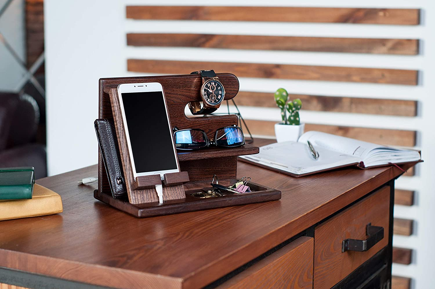 Laser Cut Phone Docking Station Ash Key Holder Wallet Stand Watch Organizer Men Gift For Husband Father Free Vector