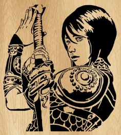 Laser Cut Girl With A Sword Wall Art Decor Free Vector