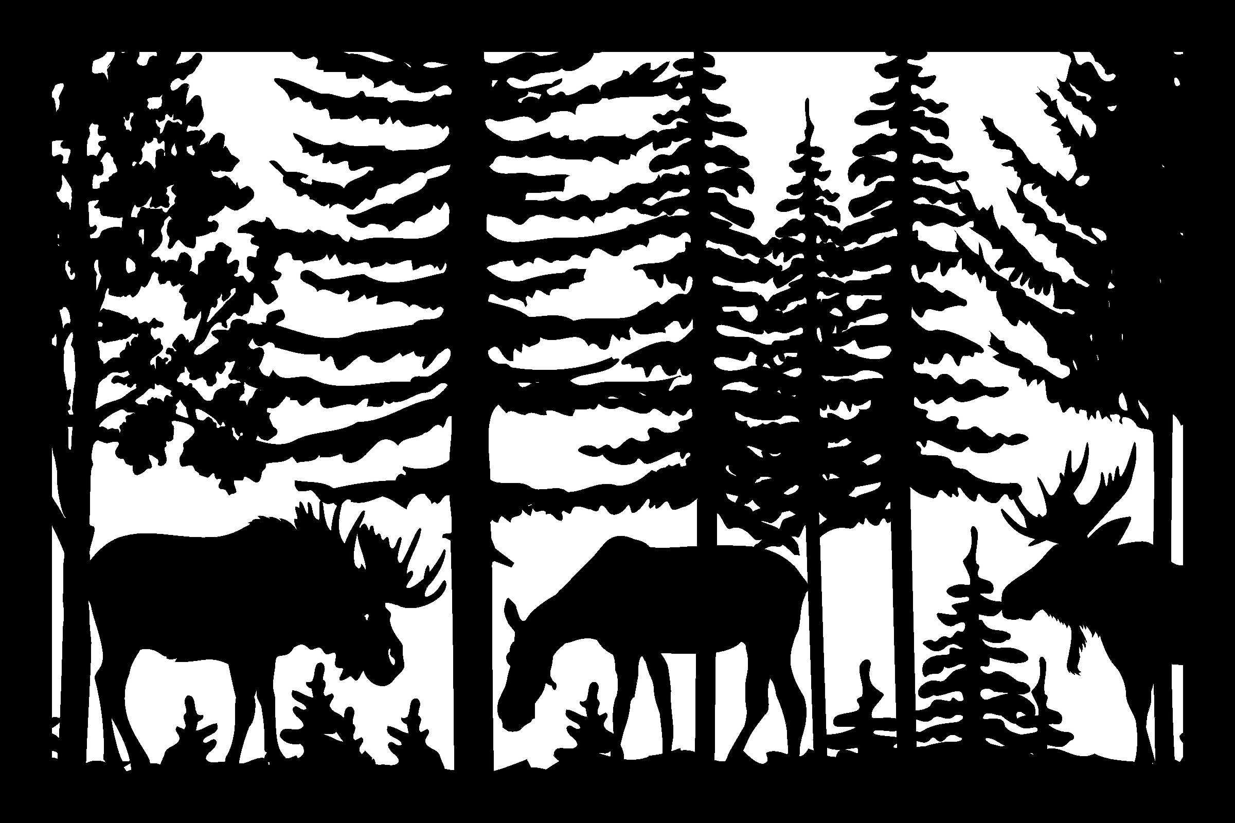 24 X 36 Two Bull Moose And Cow Plasma Art DXF File