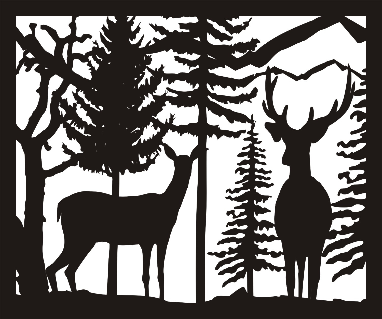 30 X 36 Doe Buck Trees Plasma Art DXF File
