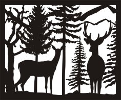 30 X 36 Doe Buck Trees Plasma Art DXF File