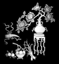 Vase with Flowers Fruit Grayscale Image BMP File