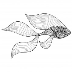 Zen Tangle Stylized Gold Fish Free Vector
